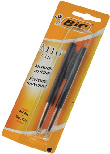 Bic balpen M10 clic medium punt zwart 2 stuks