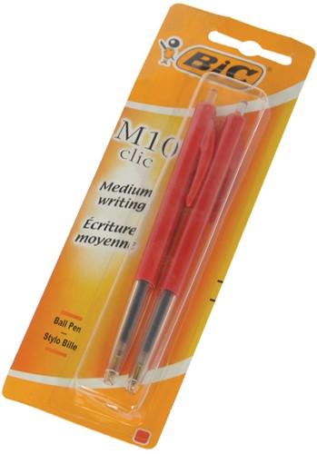 Bic balpen M10 clic medium punt rood 2 stuks