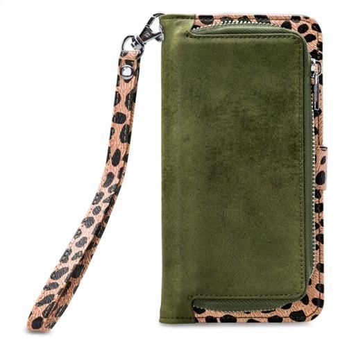Mobilize 2in1 Magnet Zipper Case Apple iPhone XR Olive/Leopard
