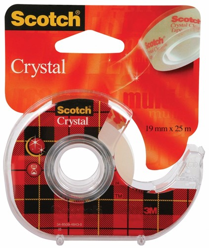 Scotch plakband Crystal 19mm x 25m met dispenser