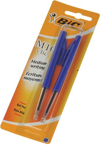 Bic balpen M10 clic medium punt blauw 2 stuks