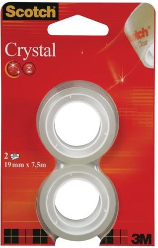 Scotch plakband Crystal 19mm x 7,5m 2 rollen