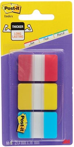 Post-it indexstroken rood/geel/blauw