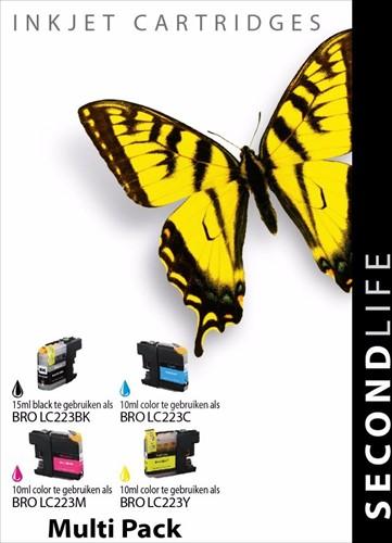 SecondLife - Multipack Brother LC221 / LC223 BK  C  M en Y