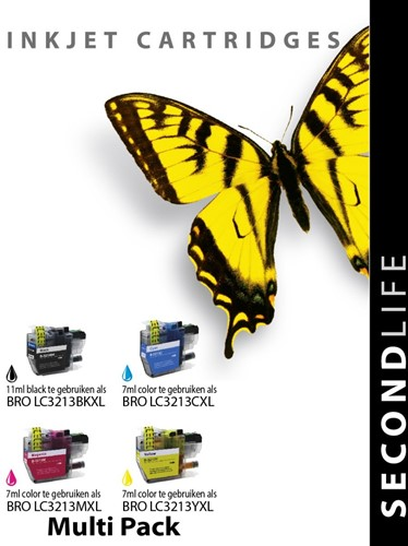 SecondLife - Multipack Brother LC3211 / LC3213 XL BK  C  M en Y