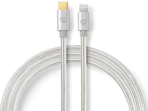 USB-Kabel | Apple Lightning | Apple Lightning 8-Pins | USB Type-C Male | Verguld | 1.00 m | Rond | Gebreid / Nylon | Aluminium/Zilver | Cover Window Box